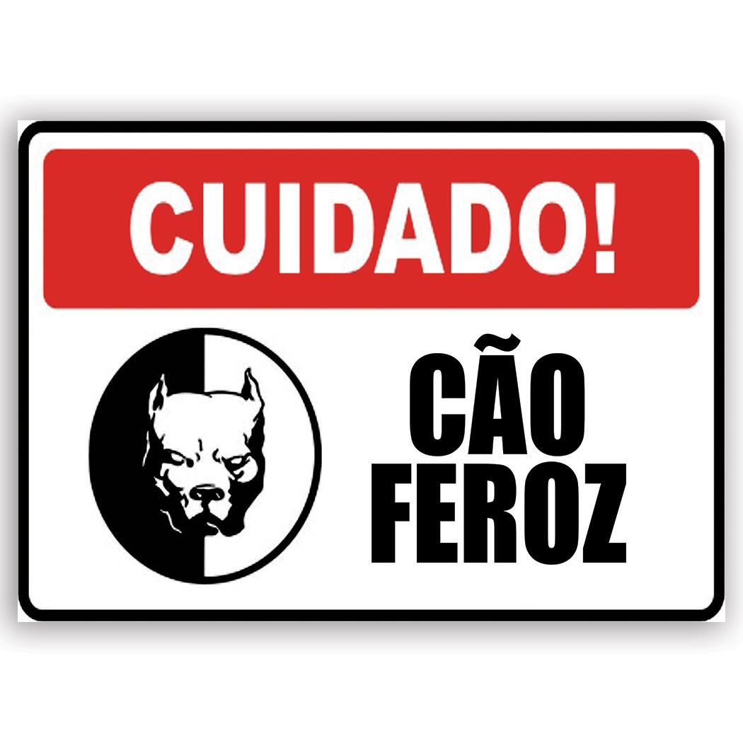 Cuidado Cao Feroz : Gift Sticker Caution Ferocious Dog Portuguese Sign Placard Signalization