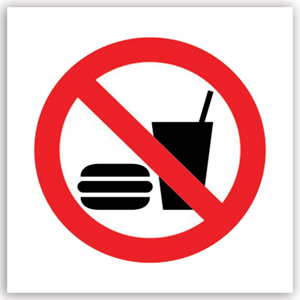 No Food or Drinks Allowed : Gift Sticker Placard Sign Signage