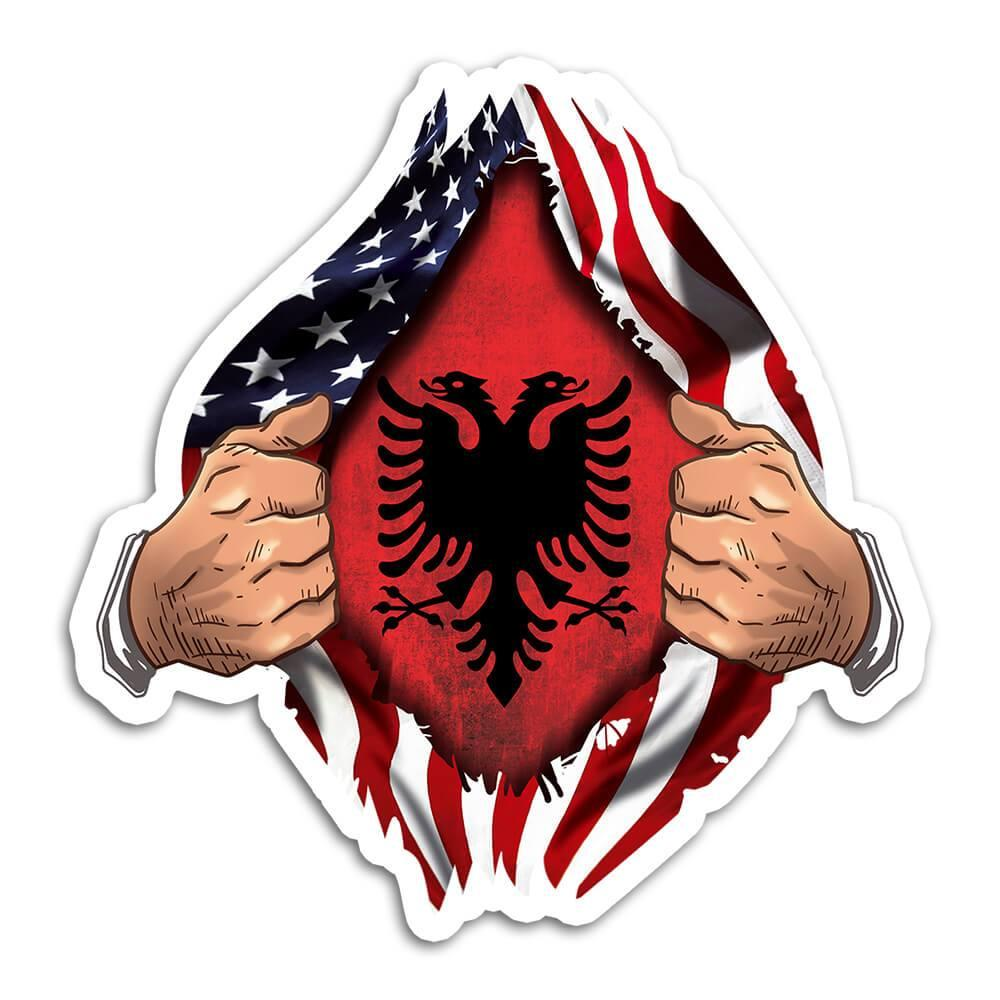 Albania : Gift Sticker Flag USA American Chest Albanian Expat Country