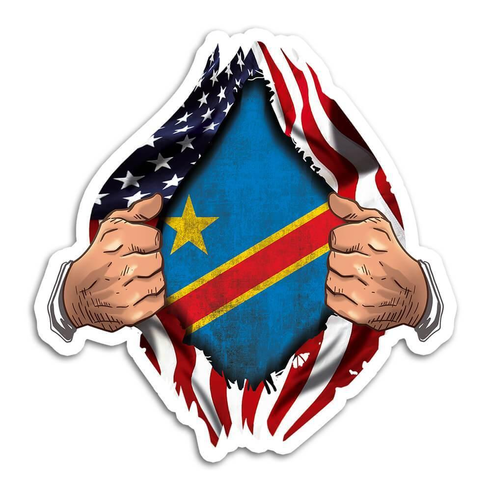 Democratic R. Congo : Gift Sticker Flag USA American Chest Congolese Expat Country