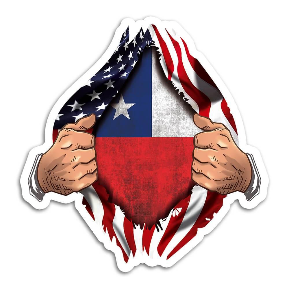 Chile : Gift Sticker Flag USA American Chest Chilean Expat Country
