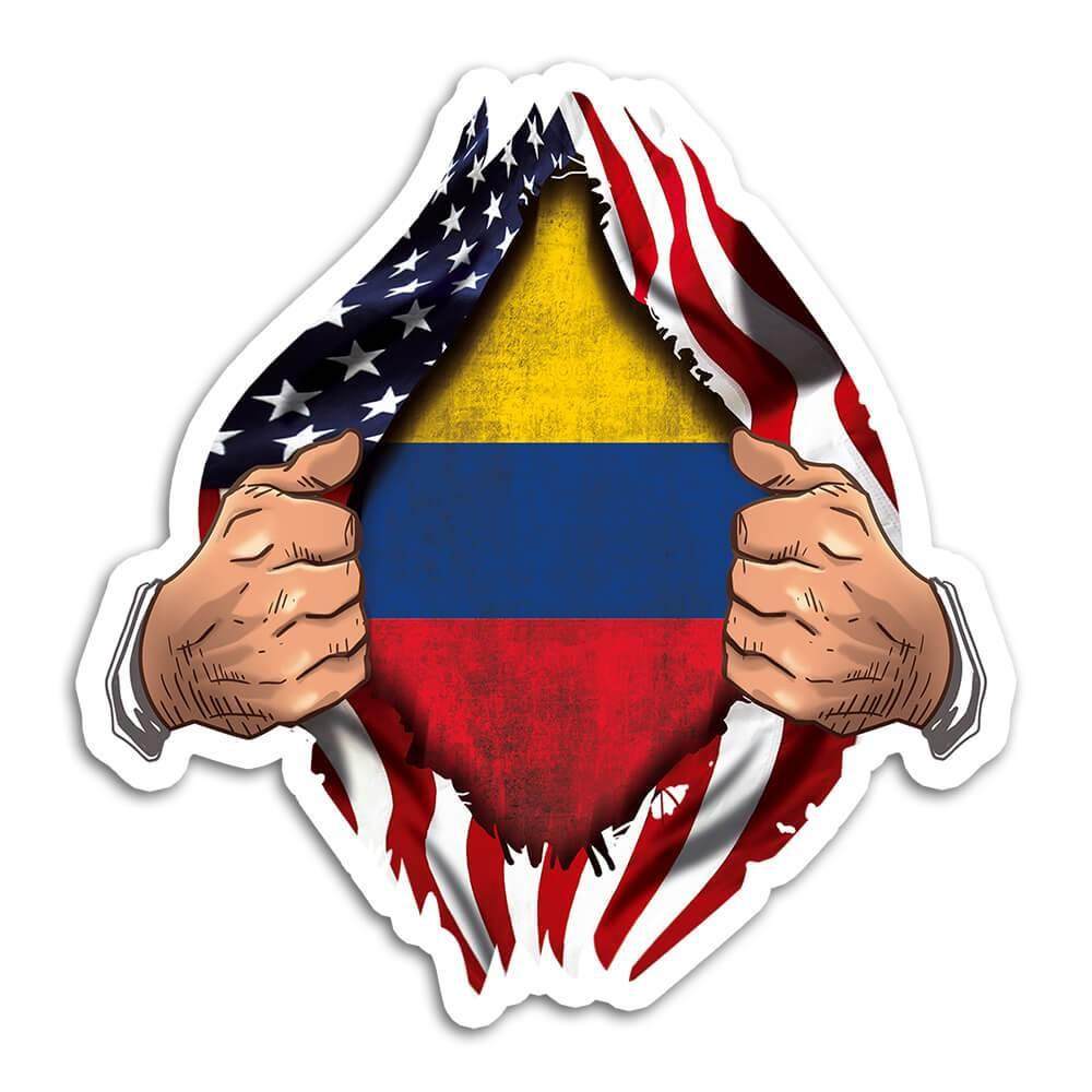 Colombia : Gift Sticker Flag USA American Colombian Expat Country Chest