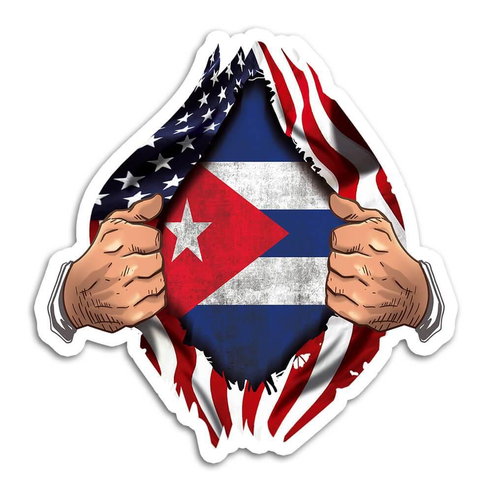 Cuba : Gift Sticker Flag USA Chest American Cuban Expat Country Made In USA