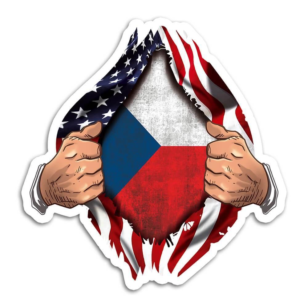 Czech Republic : Gift Sticker Flag USA American Chest Czech Expat Country