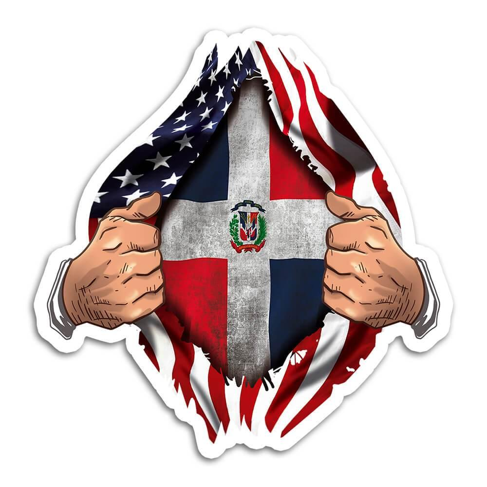Dominican Republic : Gift Sticker Flag USA Chest American Dominican Expat Country