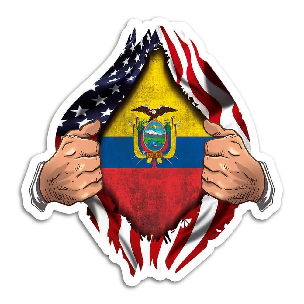 Ecuador : Gift Sticker Flag USA American Chest Ecuadorian Expat Country