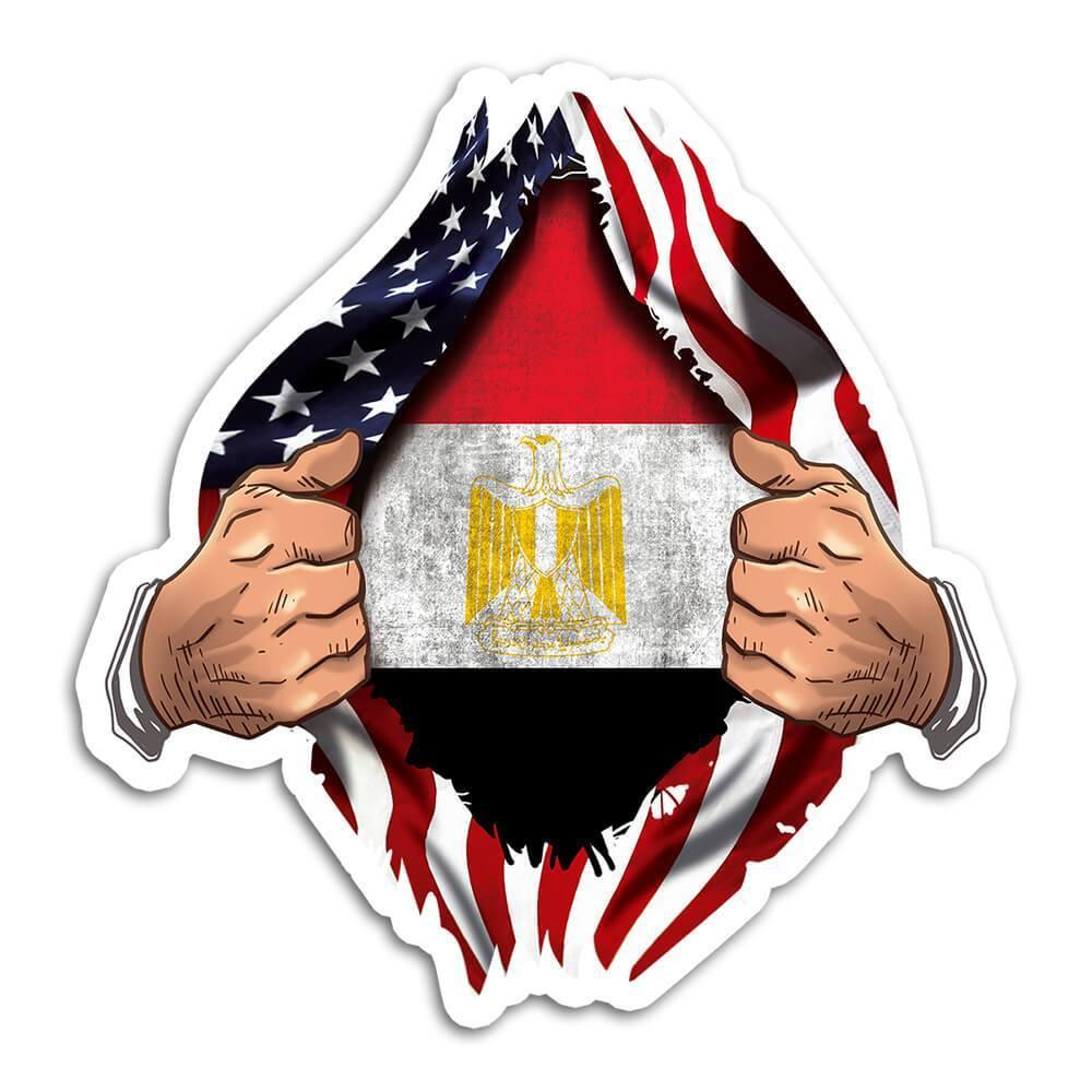 Egypt : Gift Sticker Flag USA Chest American Egyptian Expat Country