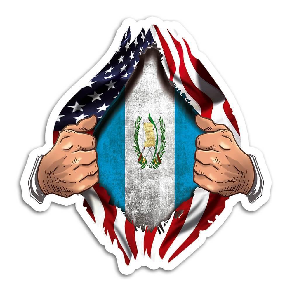 Guatemala : Gift Sticker Flag USA Chest American Guatemalan Expat Country
