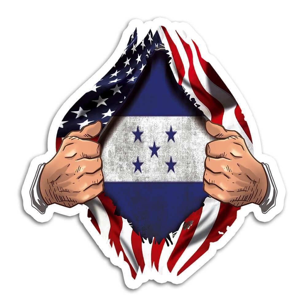 Honduras : Gift Sticker Flag USA Chest American Honduran Expat Country