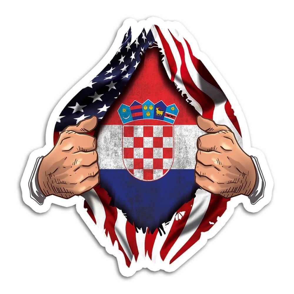 Croatia : Gift Sticker Flag USA American Chest Croatian Expat Country