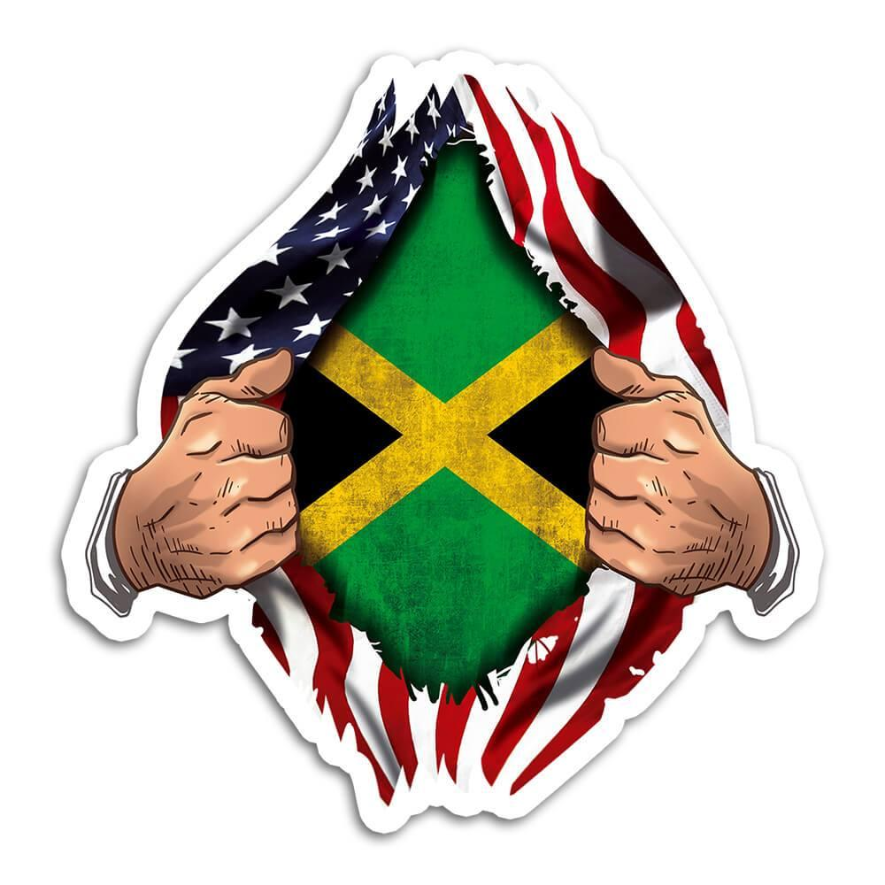 Jamaica : Gift Sticker Flag USA American Chest Jamaican Expat Country