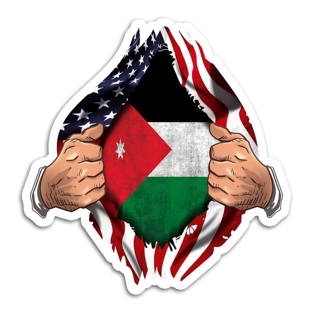 Jordan : Gift Sticker Flag USA Chest American Jordanian Expat Country