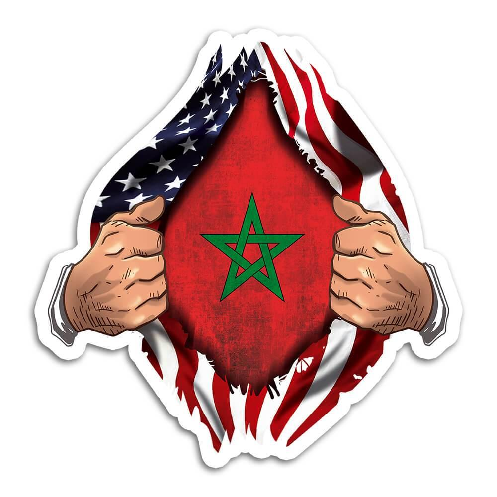Morocco : Gift Sticker Flag USA Chest American Moroccan Expat Country
