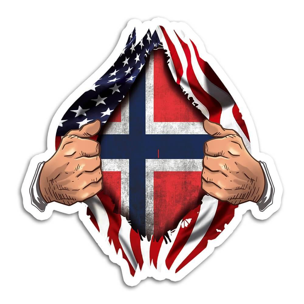 Norway : Gift Sticker Flag USA American Chest Norwegian Expat Country