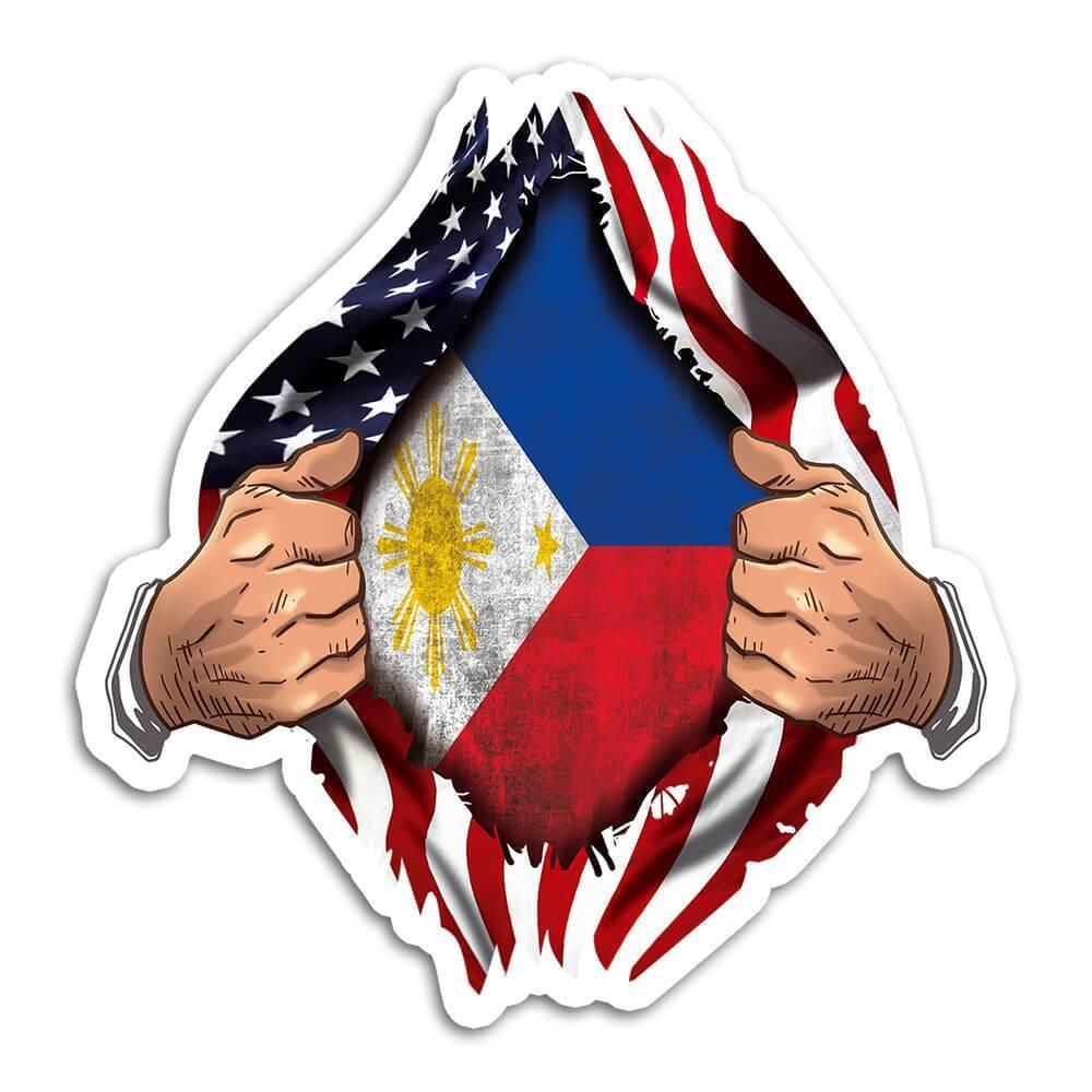 Philippines : Gift Sticker Flag USA American Chest Filipino Expat Country