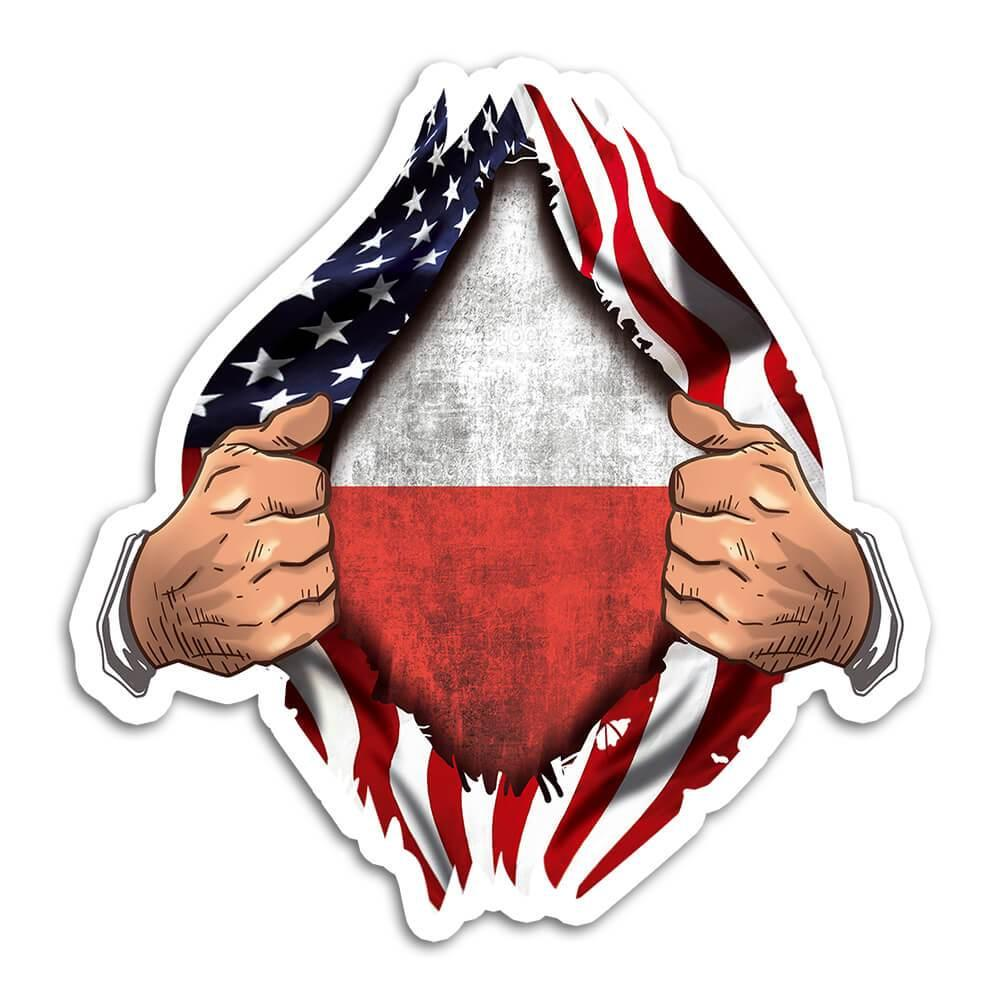 Poland : Gift Sticker Flag USA American Chest Polish Expat Country