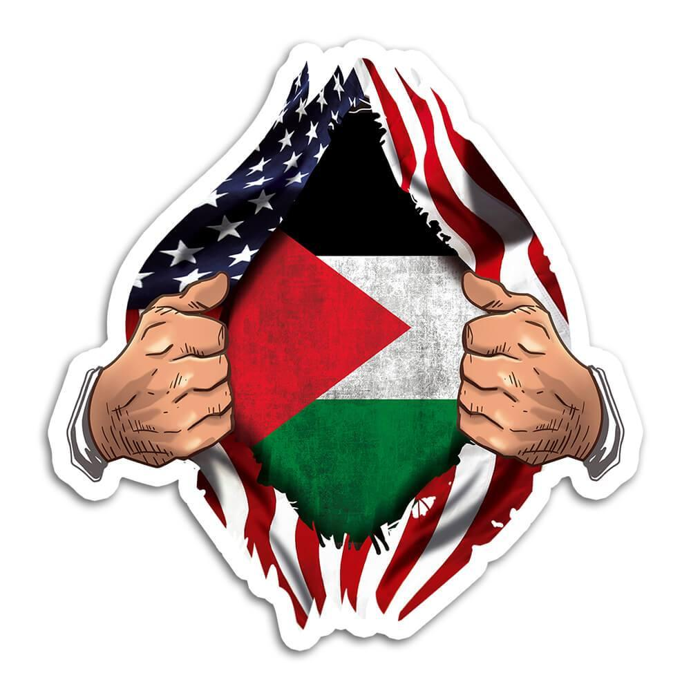 Palestine : Gift Sticker Flag USA Chest American Palestinian Expat Country