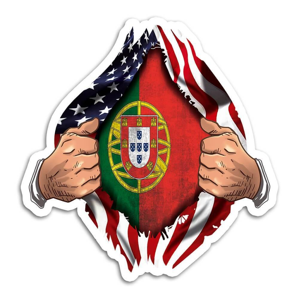 Portugal : Gift Sticker Flag USA American Chest Portuguese Expat Country