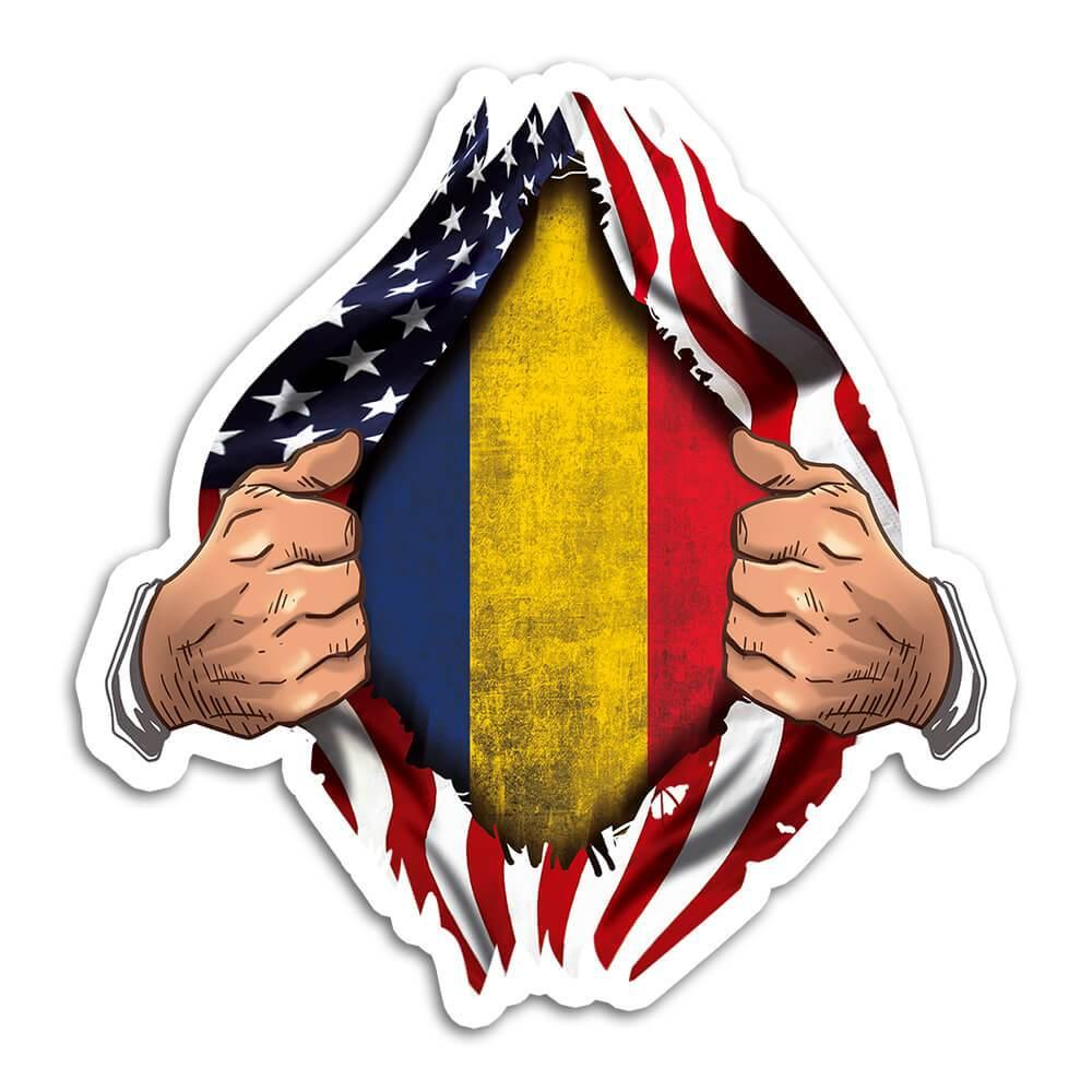 Romania : Gift Sticker Flag USA American Chest Romanian Expat Country