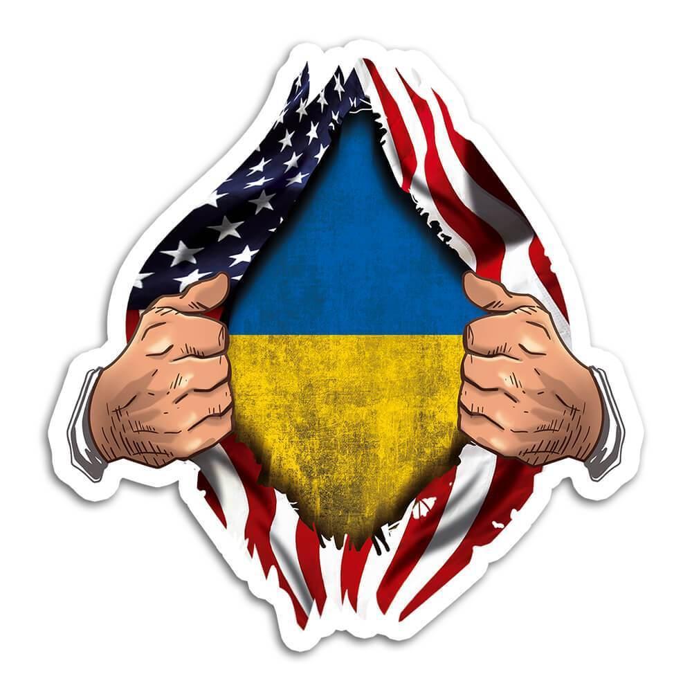 Ukraine : Gift Sticker Flag USA American Chest Ukrainian Expat Country