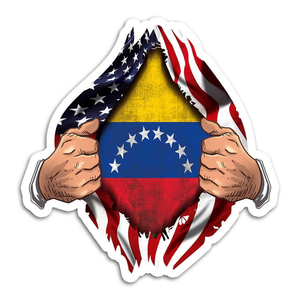 Venezuela : Gift Sticker Flag USA Chest American Venezuelan Expat Country