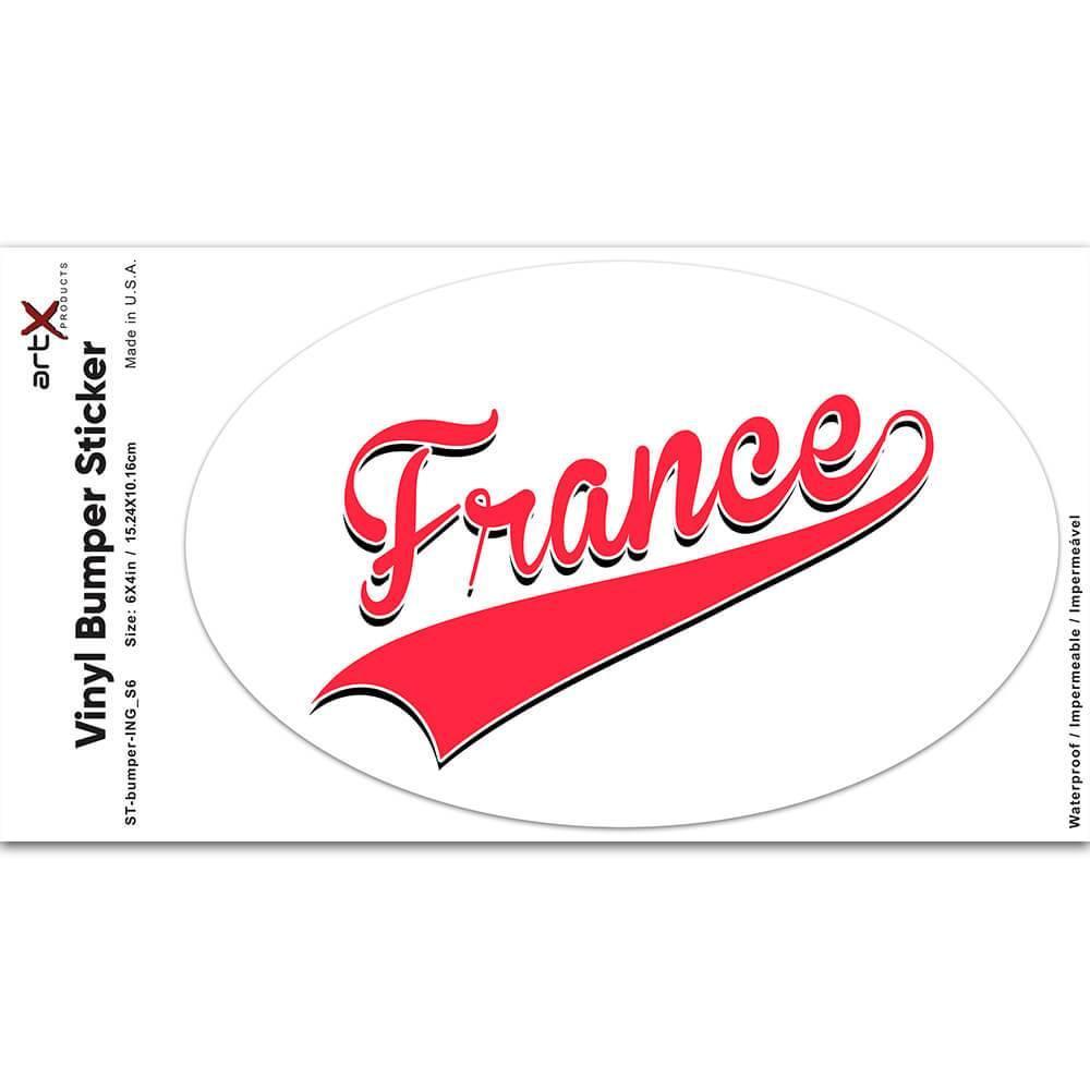 France : Gift Sticker Flag Varsity Script Baseball Beisbol Country Pride French