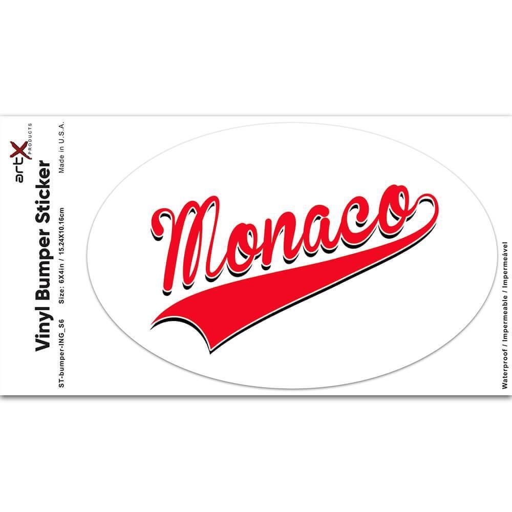 Monaco : Gift Sticker Flag Varsity Script Baseball Beisbol Country Pride Monegasque