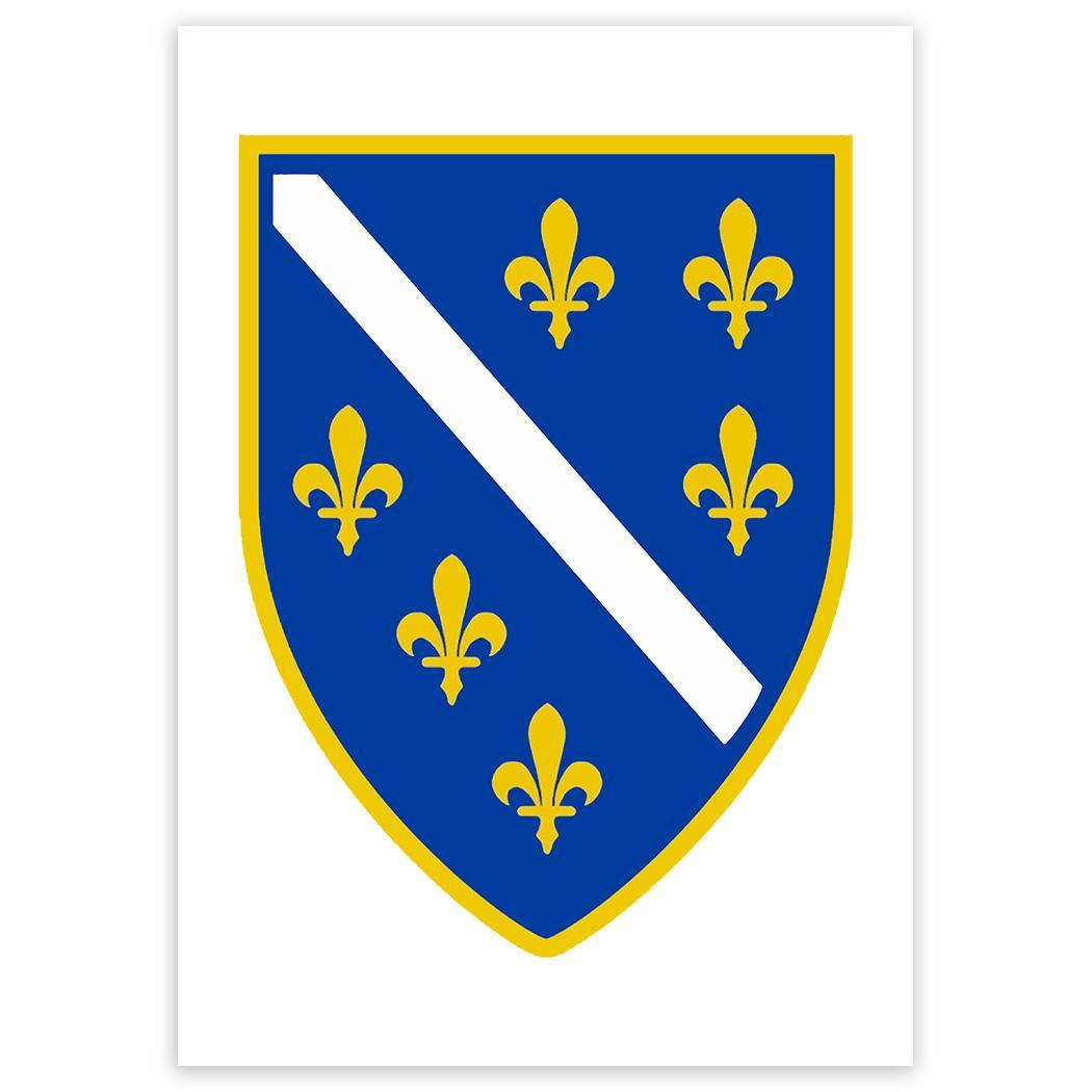 Bosnian Crest : Gift Sticker Flag Bosnia Herzegovina Expat