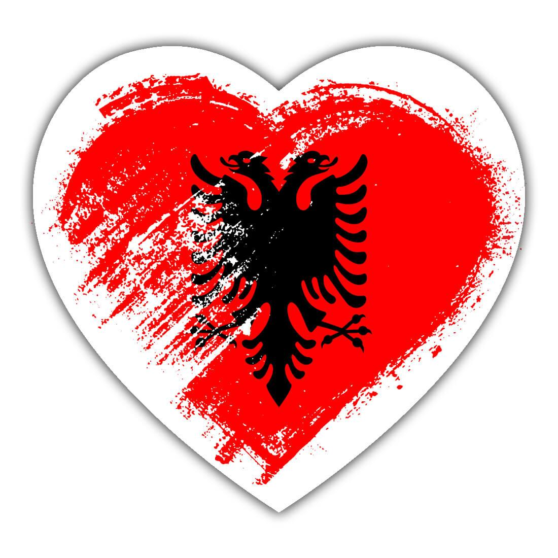 Albanian Heart : Gift Sticker Albania Country Expat Flag Patriotic Flags National