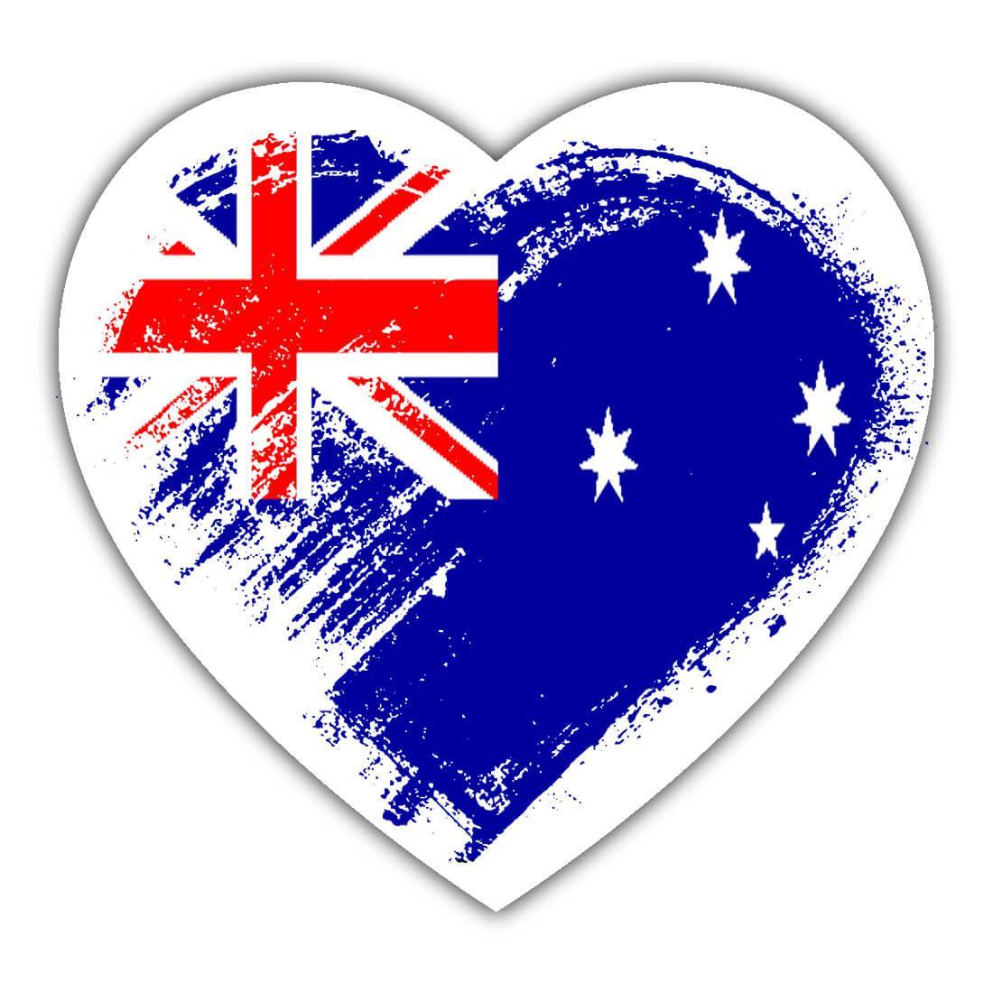 Australian Heart : Gift Sticker Australia Country Expat Flag