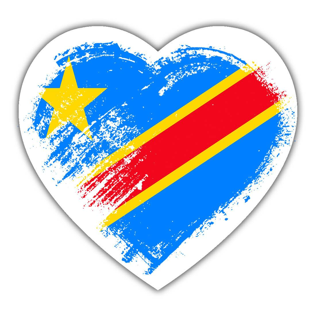 Congolese Heart : Gift Sticker Democratic Republic of the Congo Country Expat Flag