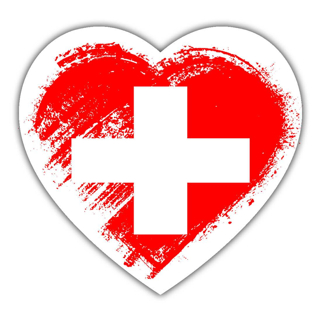 Swiss Heart : Gift Sticker Switzerland Country Expat Flag Patriotic Flags National