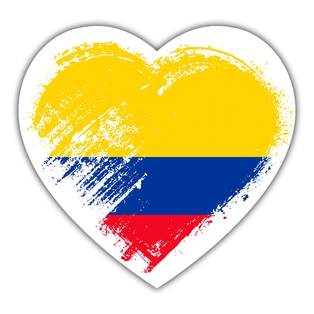 Colombian Heart : Gift Sticker Colombia Country Expat Flag