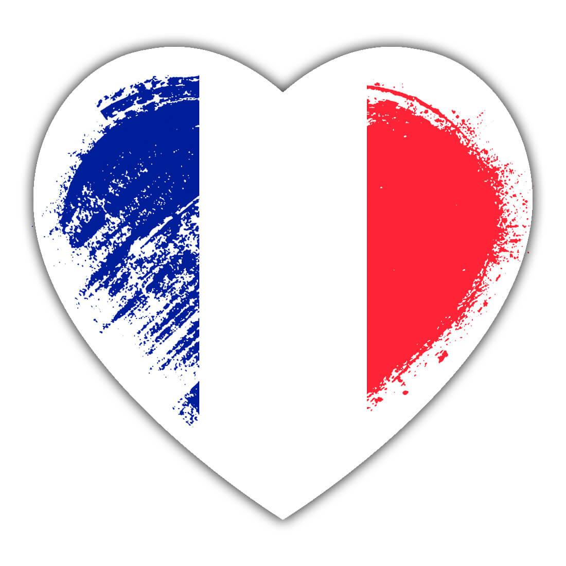 French Heart : Gift Sticker France Country Expat Flag Patriotic Flags National