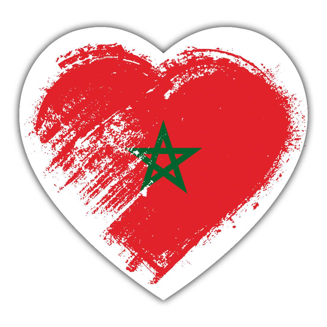 Moroccan Heart : Gift Sticker Morocco Country Expat Flag Patriotic Flags National