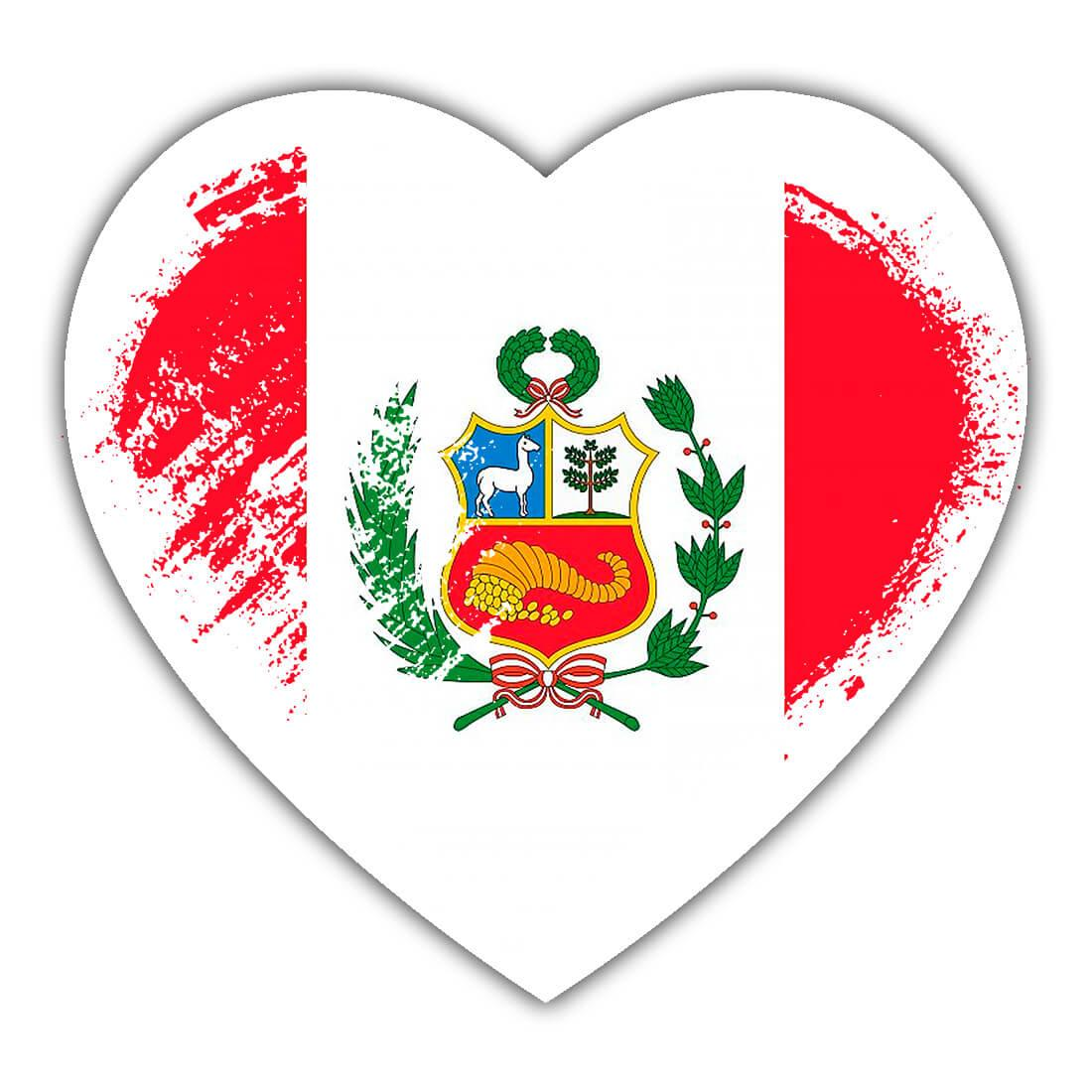 Peruvian Heart : Gift Sticker Peru Country Expat Flag Patriotic Flags National