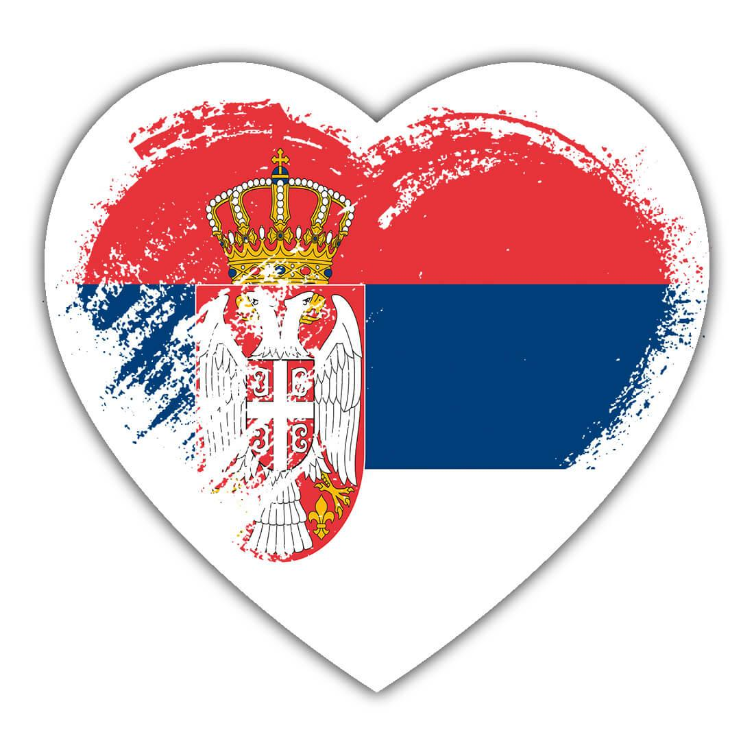 Serbian Heart : Gift Sticker Serbia Country Expat Flag Patriotic Flags National