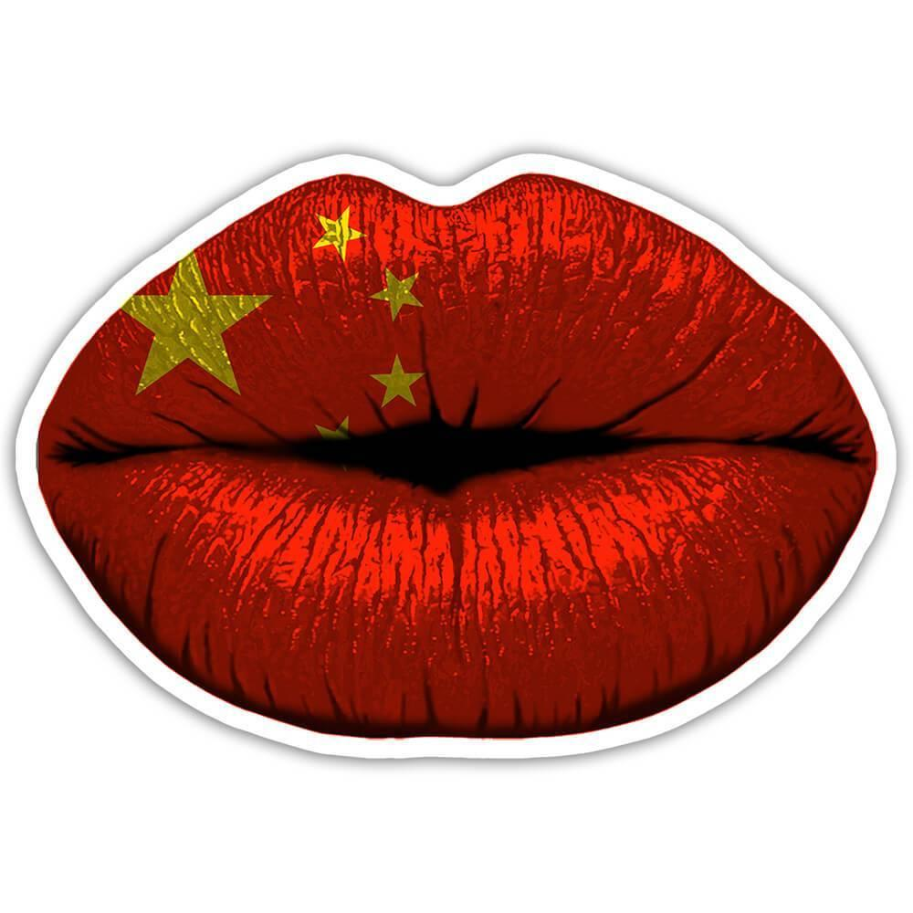 Lips Chinese Flag : Gift Sticker China Expat Country For Her Woman Feminine Women Sexy Flags Lipstick