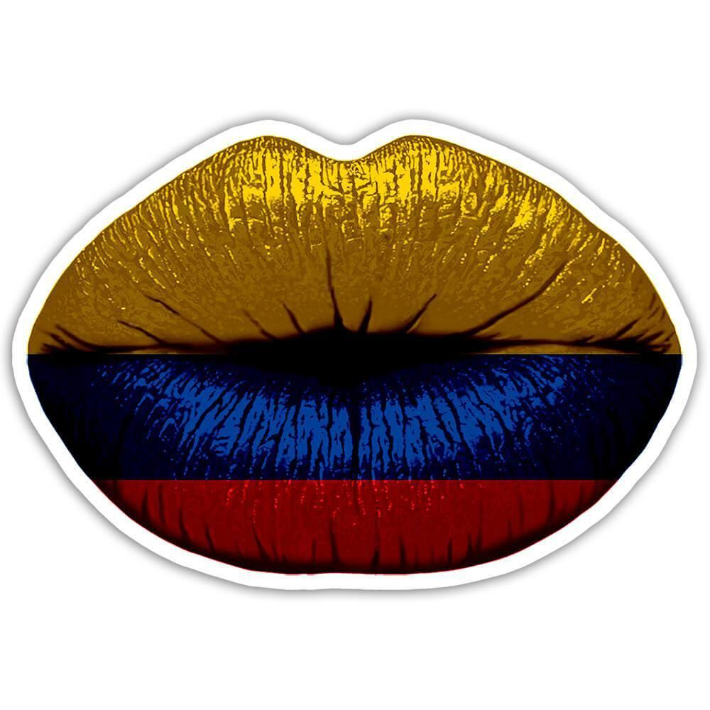 Lips Colombian Flag : Gift Sticker Colombia Expat Country