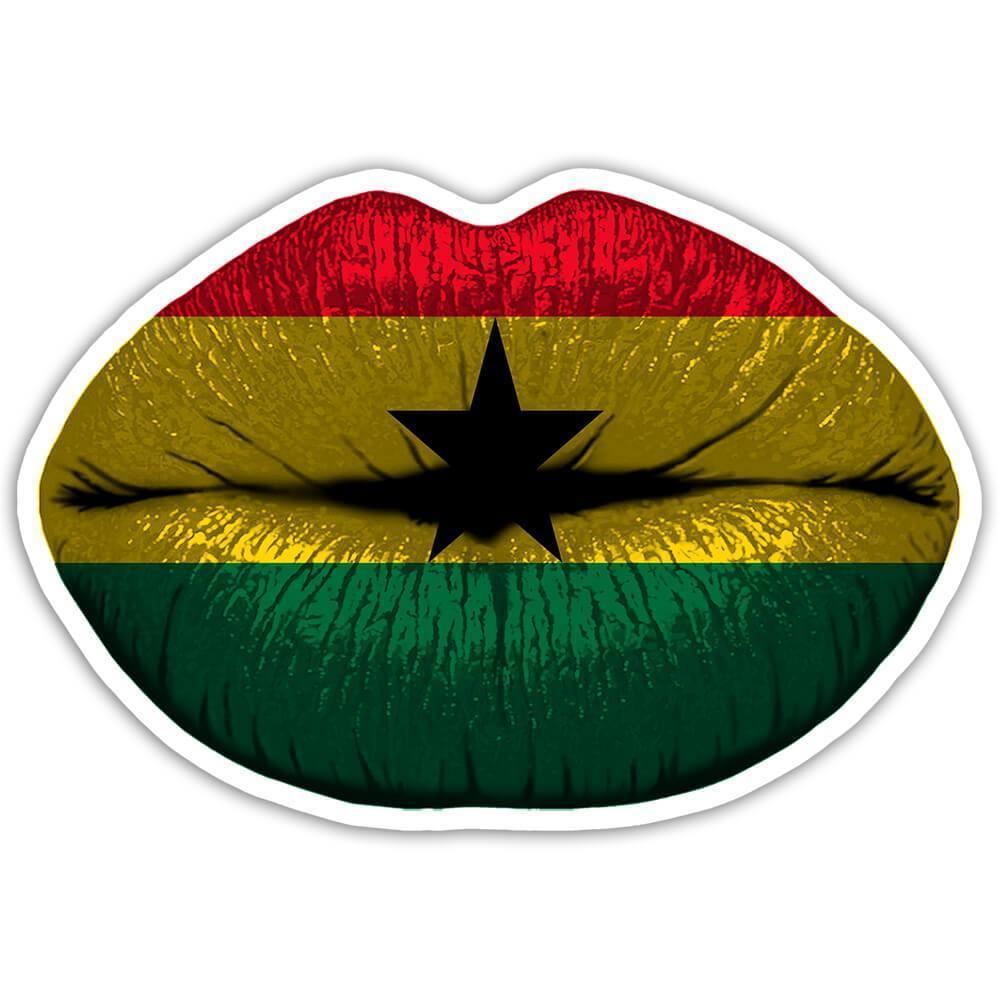 Lips Ghanaian Flag : Gift Sticker Ghana Expat Country For Her Woman Feminine Women Sexy Flags Lipstick