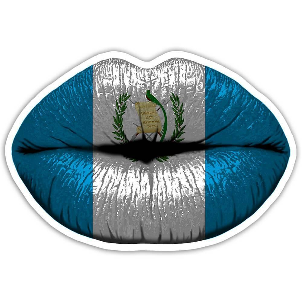 Lips Guatemalan Flag : Gift Sticker Guatemala Expat Country