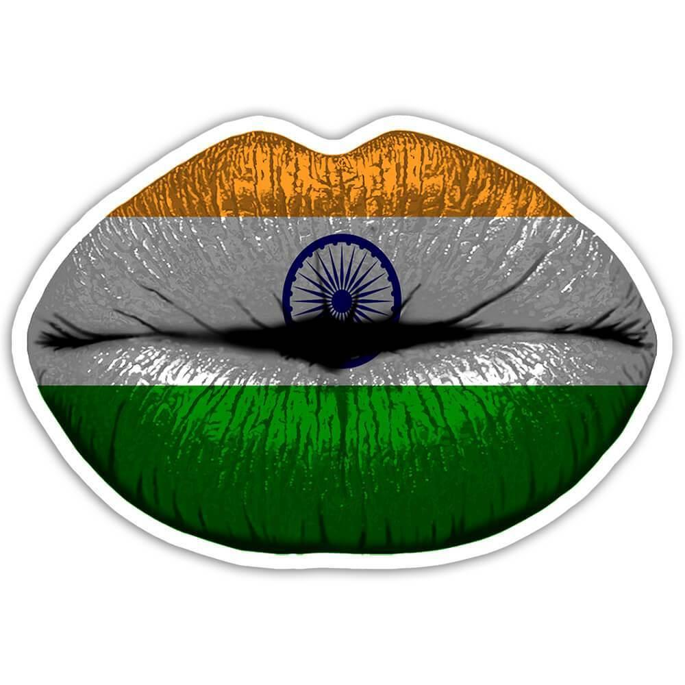 Lips Indian Flag : Gift Sticker India Expat Country For Her Woman Feminine Women Sexy Flags Lipstick
