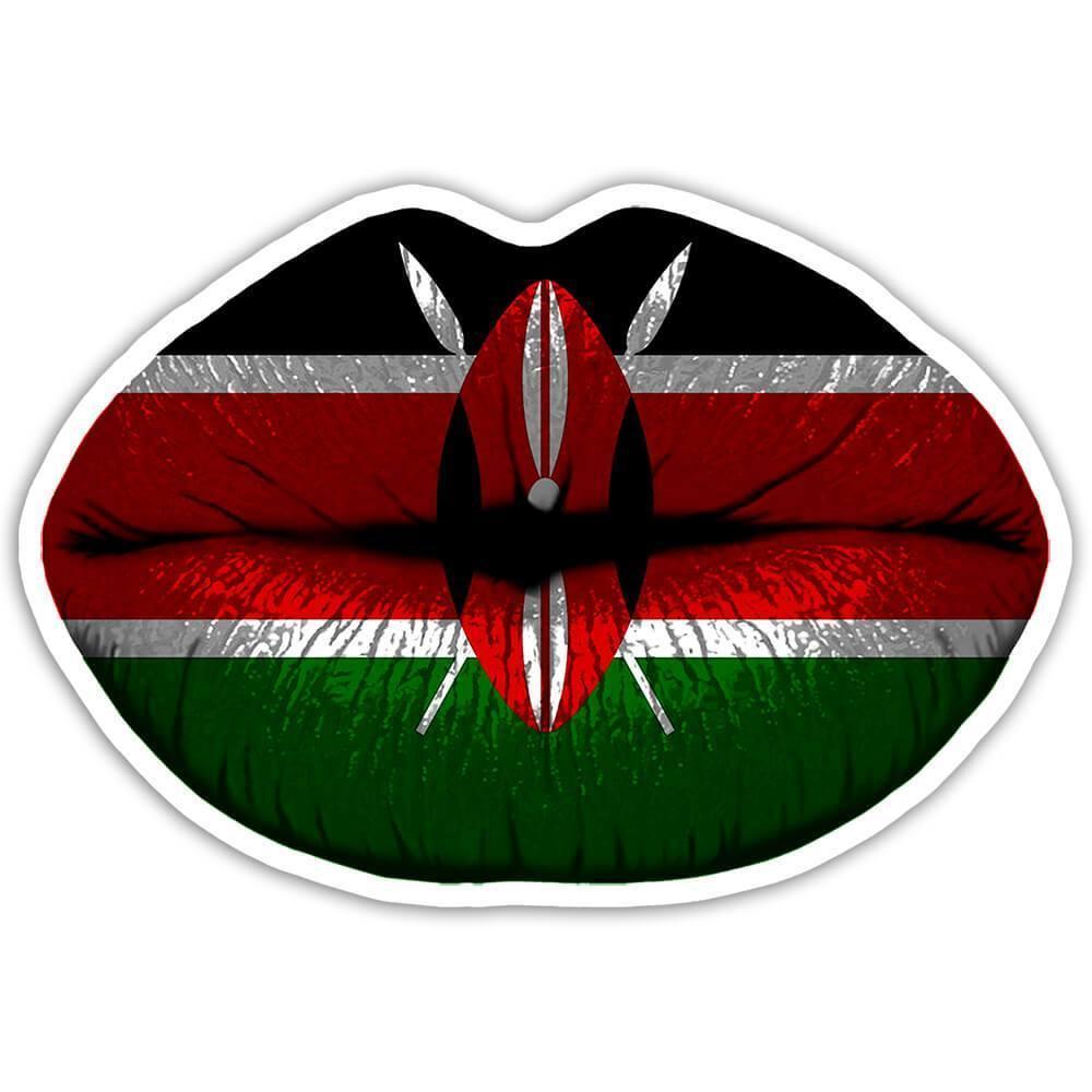 Lips Kenyan Flag : Gift Sticker Kenya Expat Country For Her Woman Feminine Women Sexy Flags Lipstick