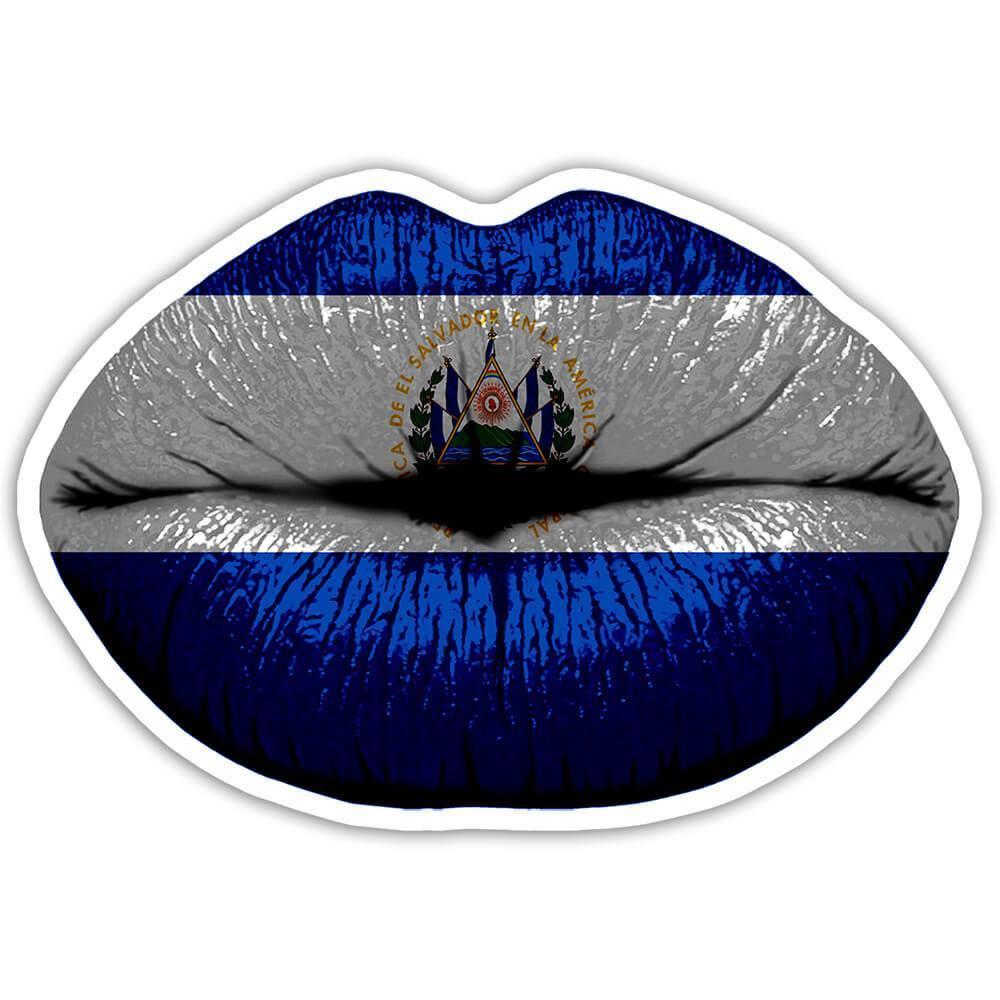 Lips Salvadorean Flag : Gift Sticker El Salvador Expat Country