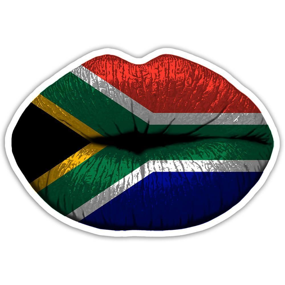 Lips South African Flag : Gift Sticker South Africa Expat Country