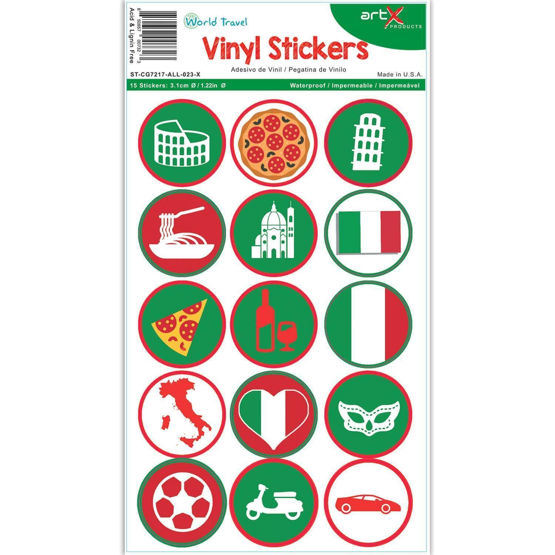 Italy : Italian Landmarks Pizza Coliseum Flag Sticker Sheet Planner Scrapbook Vinyl