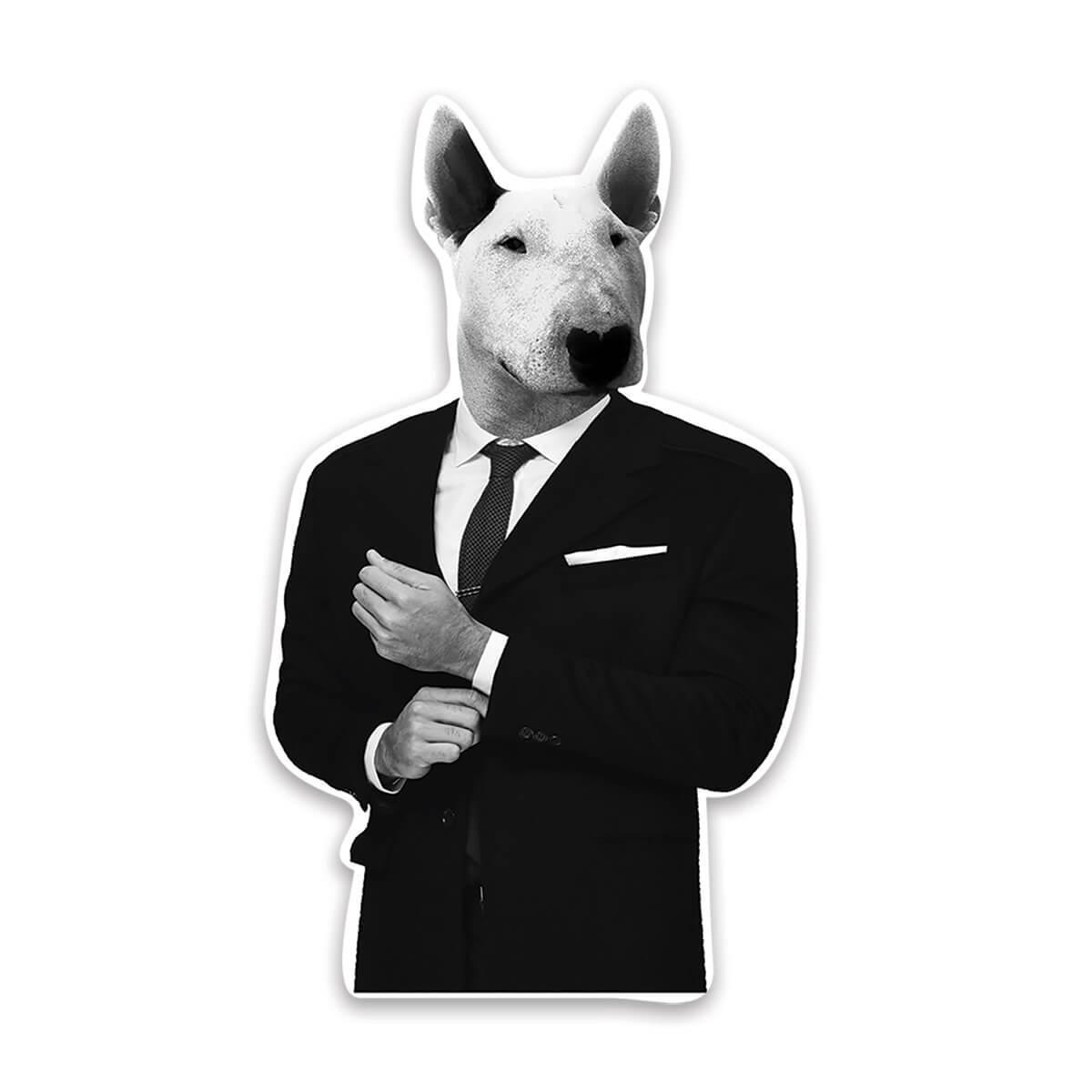Bull Terrier Suit : Gift Sticker Funny Boss Work Dog Mafia Mob Pitbull