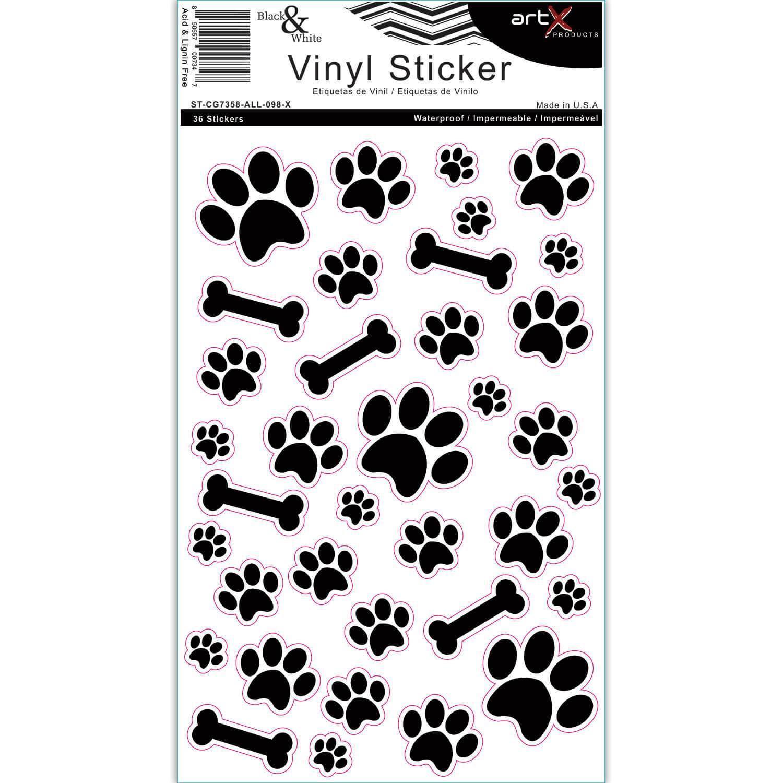 Dog Paw Doggie Bone Sticke rSheet Pet Black White Vinyl Waterproof Planner Scrapbook