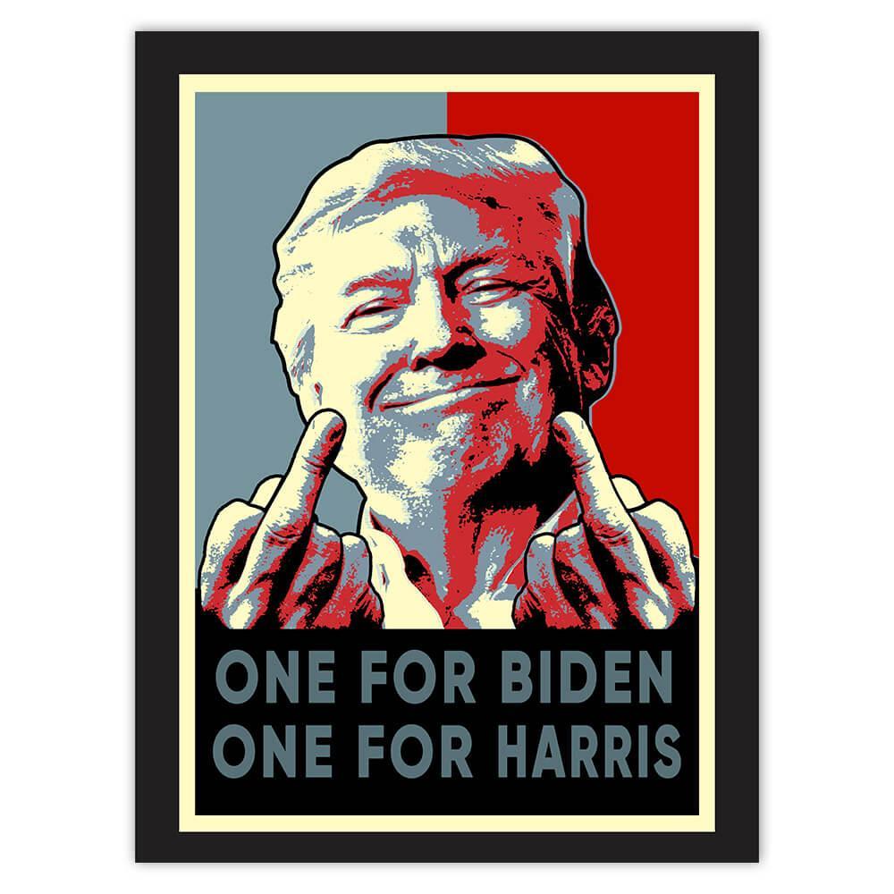Trump Middle Finger : Gift Sticker Gag One for Biden One for Harris President USA