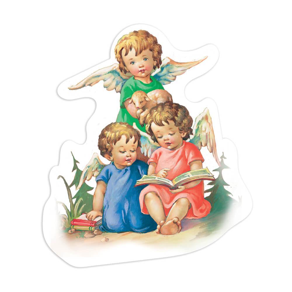 Victorian Angel Christmas : Gift Sticker Vintage Retro Religious Cute